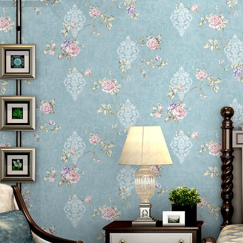 Американский pastoral ветер без сетки тканые ткани обои ретро синий европа цветы спальня гостиная телевидение фон стена бумага