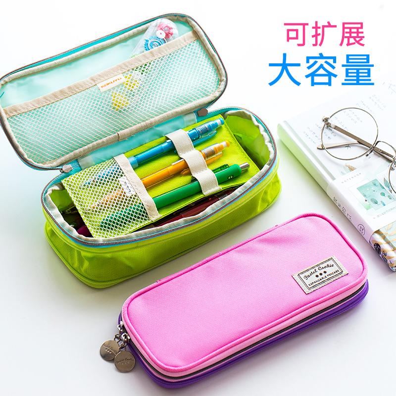 日本国誉笔袋大容量多功能大学生文具袋韩国女小清新可爱铅笔袋多功能小学生用男生简约收纳包儿童笔盒化妆包