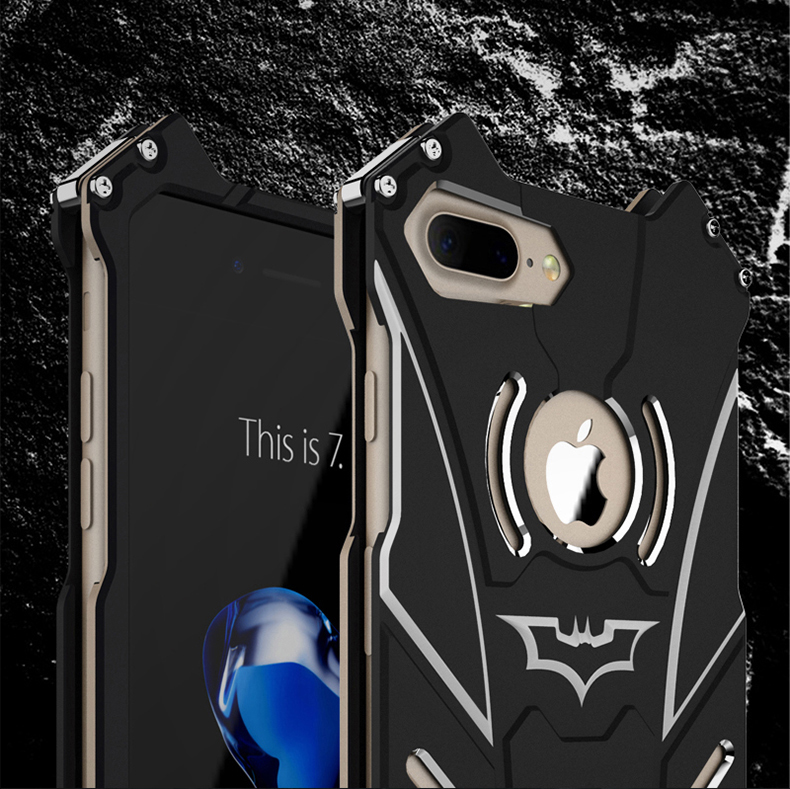 R-Just Batman Shockproof Aluminum Shell Metal Case with Custom Stent for Apple iPhone 7 Plus & iPhone 7