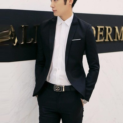 2020 young and middle-aged self-cultivation business casual suit men's autumn thin jacket single large size solid color suit jacket
