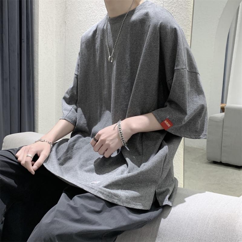 @ 方 少 ملابس رجال النار سوبر ins الصيف فضفاضة بلون قصيرة الأكمام الطلاب الذكور النسخة الكورية من زوجين البرية بسيط تي شيرت المد