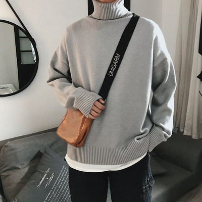 @方少 Men's clothing Autumn and winter solid color turtleneck couple sweater men Korean loose wild sweater trend bottoming shirt