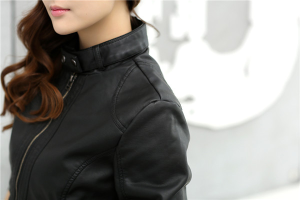 18 Fashion New Women's Jacket European Fashion Leather Jacket Pimkie Cleaning Single PU Leather Motorcycle Temale Women's Leat 7