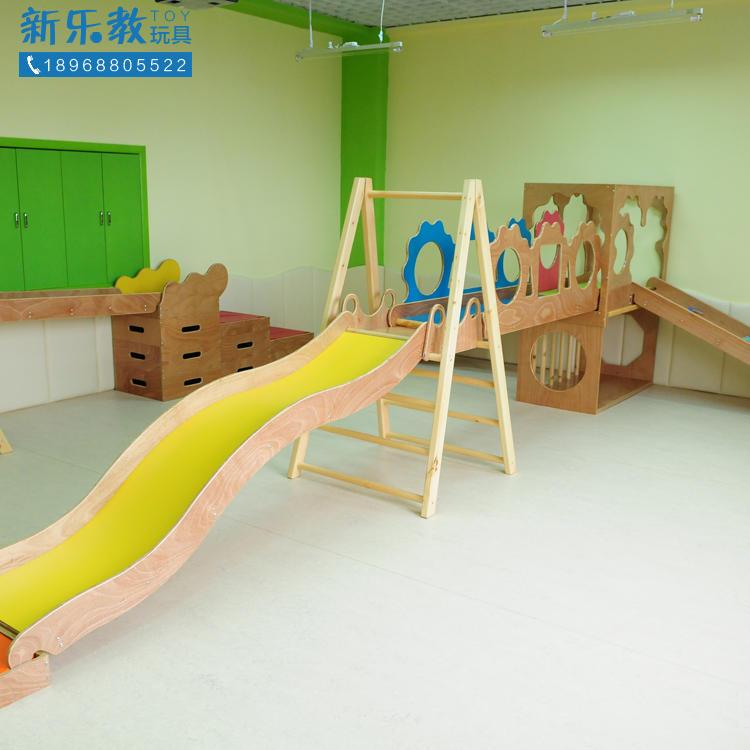 金软体儿童幼儿园运动平台滑梯教具宝贝木质组合配件多功能玩具架