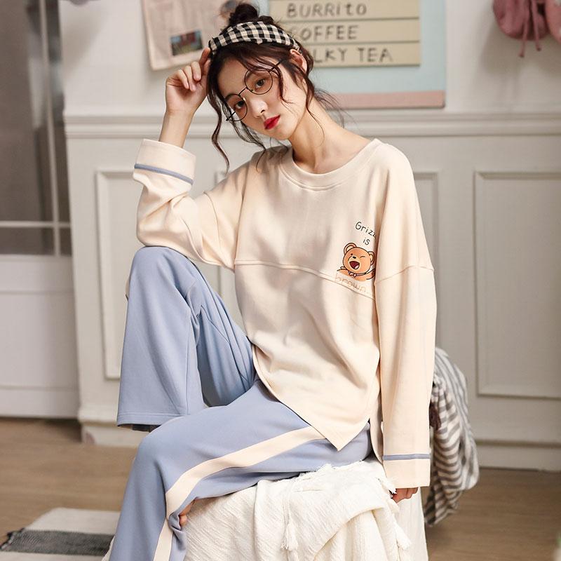 Đồ ngủ nữ mùa thu cotton mùa xuân và mùa thu dài tay mùa đông cotton Hàn Quốc tươi sinh viên công chúa phong cách lỏng lẻo phù hợp với dịch vụ nhà - Cha mẹ và con