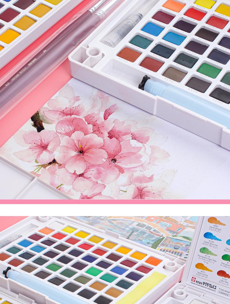 日本樱花固体水彩颜料套装色色初学者手绘色色透明珠光颜料泰伦斯水粉画笔写生绘画颜料盒可携式学生详细照片