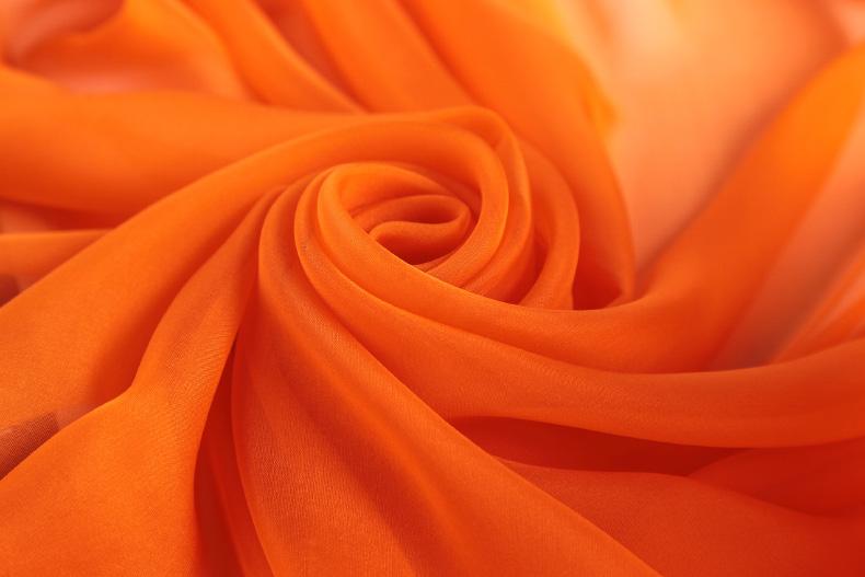 真丝丝巾女百搭橘色围巾春秋长款纯色桑蚕丝薄款纱巾夏季防晒披肩商品详情图