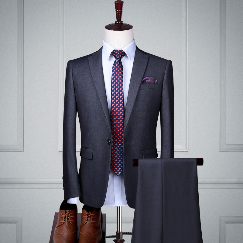 Gray Single Buckle Two-piece Suit (top + Pants)
