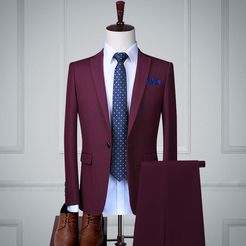 Fuchsia Single Buckle Two-piece Suit (top + Pants)