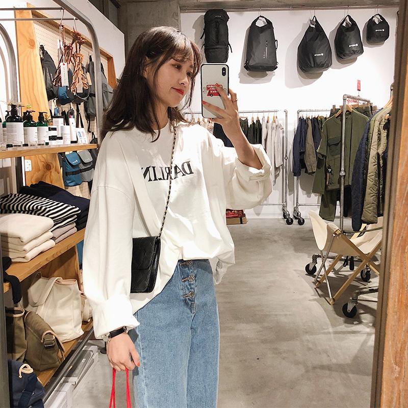 Простой положительный праведность 2018 весна белый новинка t футболки женщина корейский свободный дикий с длинными рукавами чистый хлопок письмо поддержка куртка