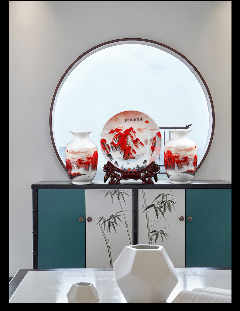 Jingdezhen porcelain vases hang dish three - piece furnishing articles of TV ark, wine porch of new Chinese style household ornaments