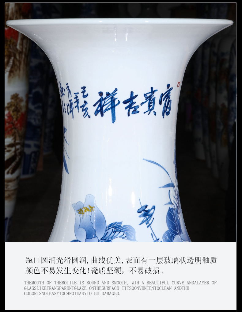 Jingdezhen ceramic hand - made archaize of large blue and white porcelain vase Chinese style adornment furnishing articles to heavy large living room