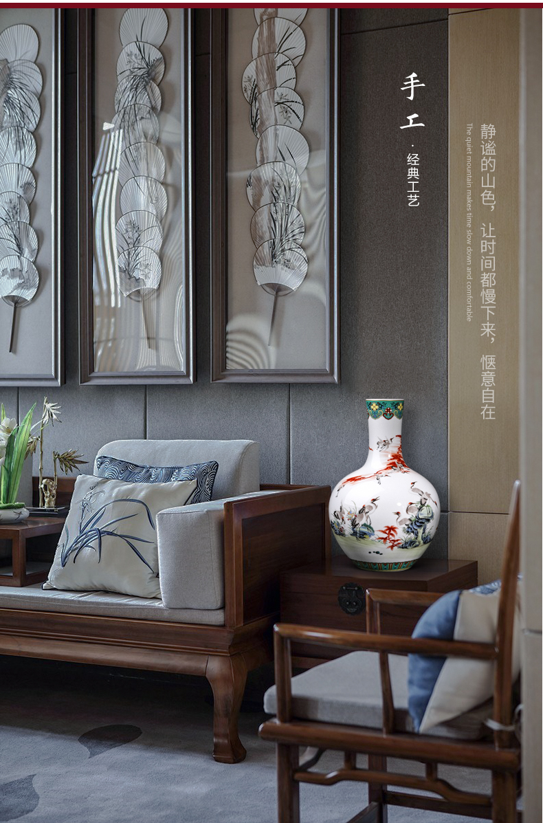 Jingdezhen ceramics enamel pastel colored vases furnishing articles sitting room flower arranging Chinese rich ancient frame home decoration