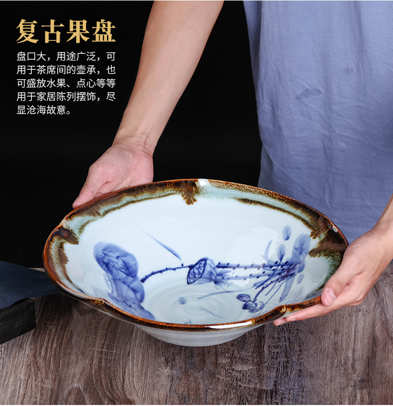 Jingdezhen ceramics hand - made of new Chinese style restoring ancient ways move dry fruit bowl tea fruit tray snack dish of tea table