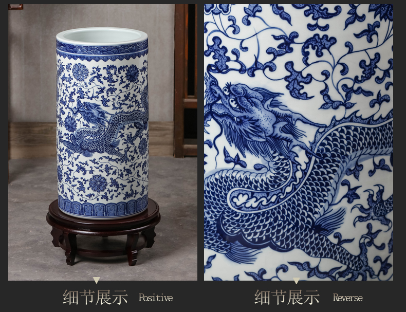 Jingdezhen ceramic painting and calligraphy scrolls cylinder large blue and white porcelain vase tube of the study of calligraphy and painting the sitting room be born home furnishing articles