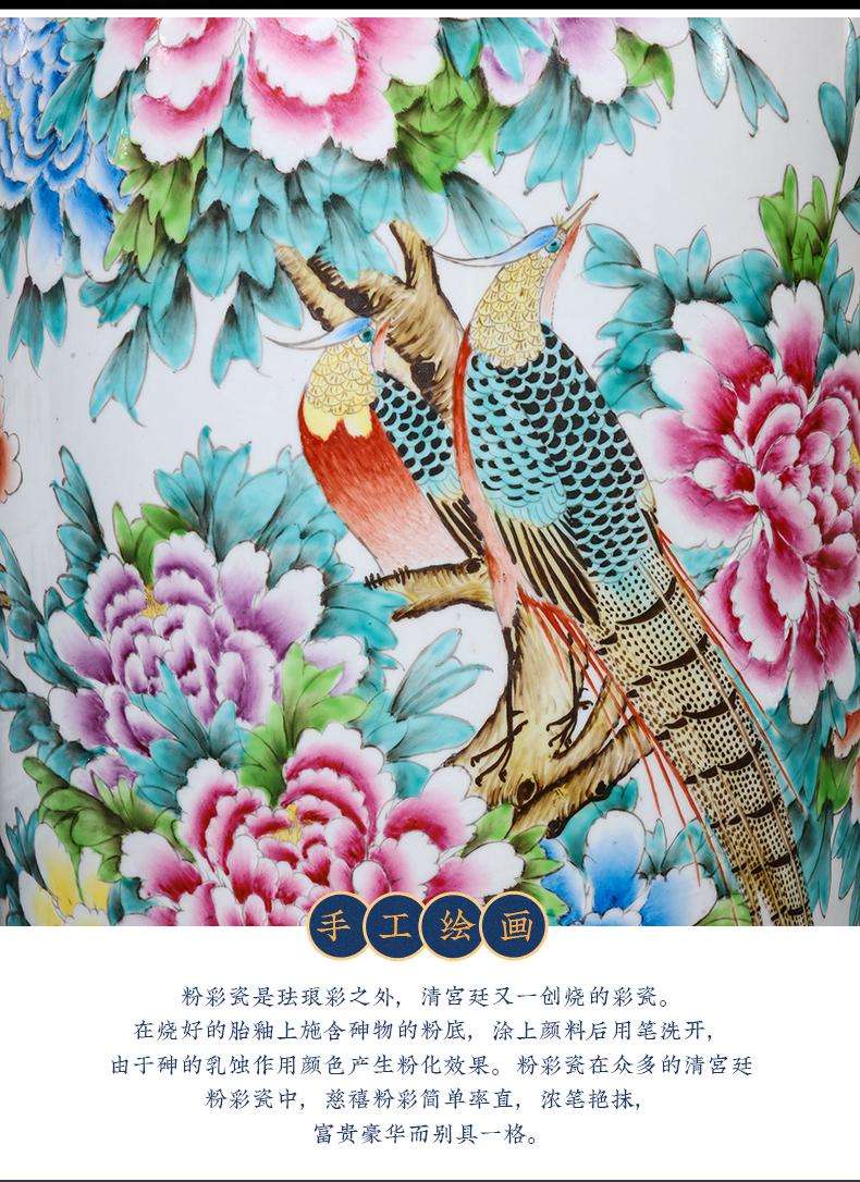 Jingdezhen ceramics hand - made pastel peony of large vase to heavy large Chinese style villa hotel housewarming