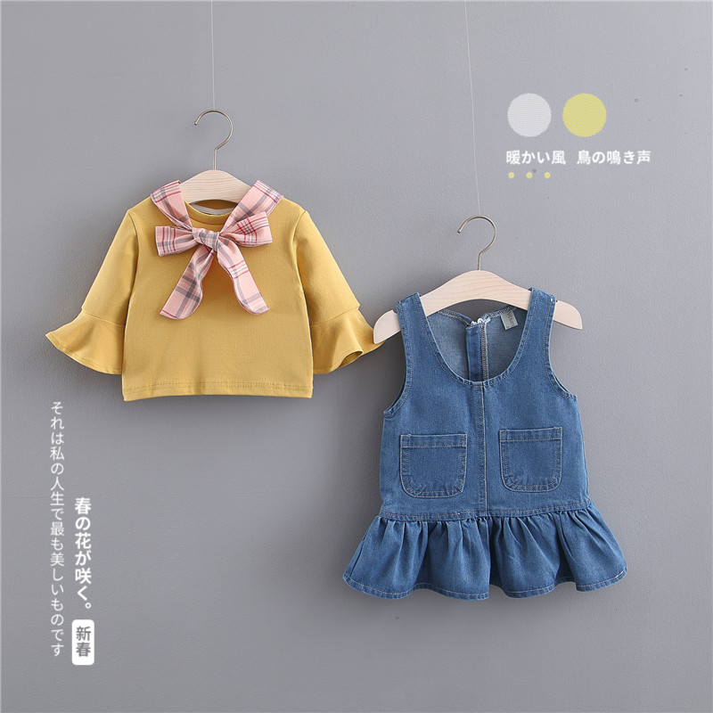 0-1岁4女宝宝3牛仔裙2春装套装女童裙子秋装衣服婴儿连衣裙6个月9