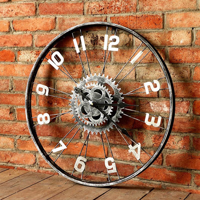 Настенные часы ФАМУ маленький американский кованого железа настенные часы творческого настенные часы старинные дома гостиная декор искусства персонализированный тихая часы