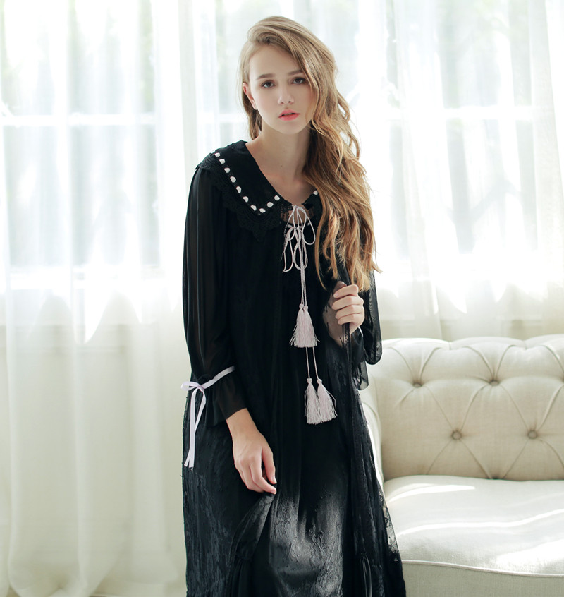 6a658b1ab0 (偲 Shadow) new palace-style lace mop long nightdress can wear home service  pajamas spring and autumn