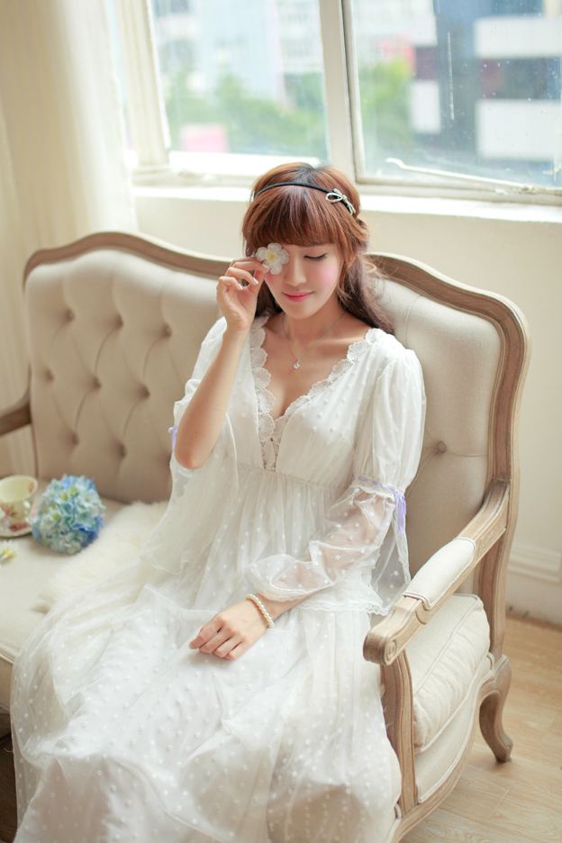 a4d3d25943 ... lace pajamas home service long nightdress female spring. Zoom ·  lightbox moreview · lightbox moreview ...