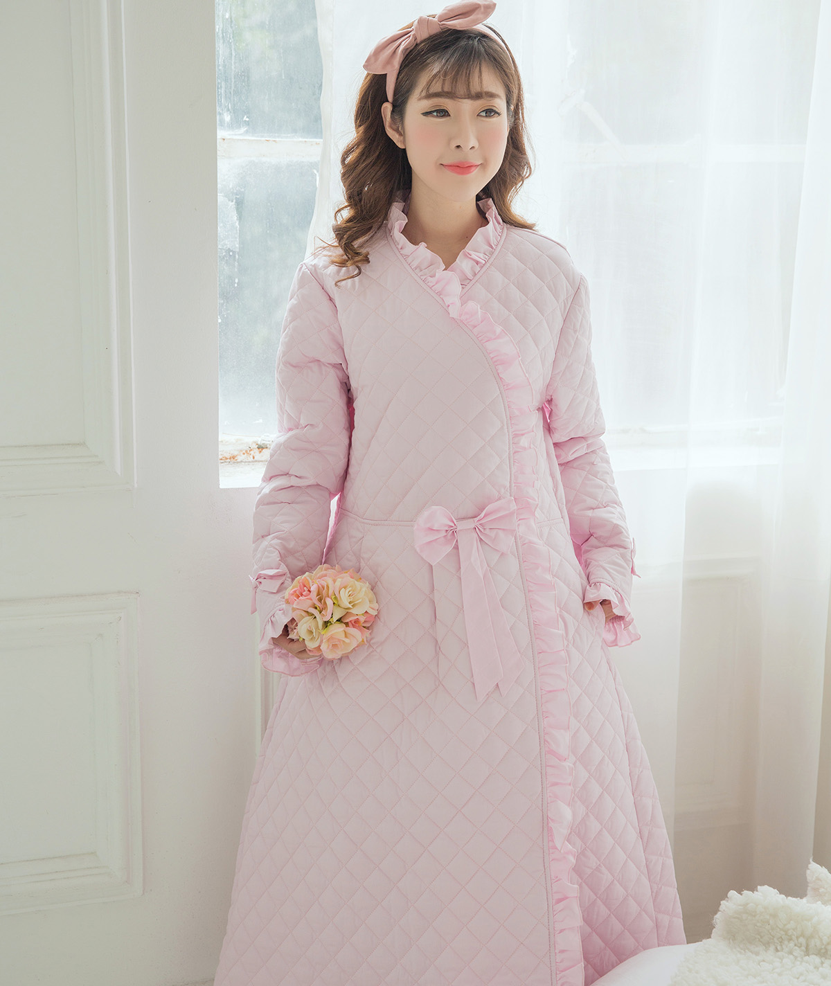 f8a48ce7f8 (Elegant) sweet style Princess thickening long nightdress winter quilted cotton  long-sleeved nightgown home service women