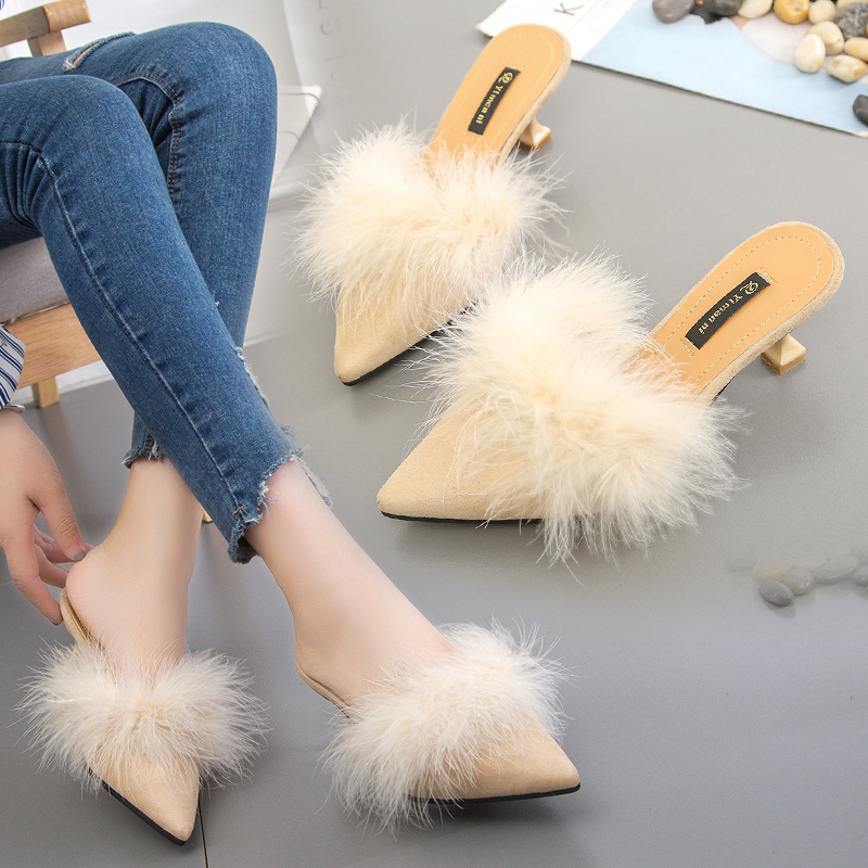 Ostrich Fur Shoes Slippers Summer 2019 New Korean Edition Fashion Outside Baotou High-heeled Shoes Autumn Baitie Women's Shoes