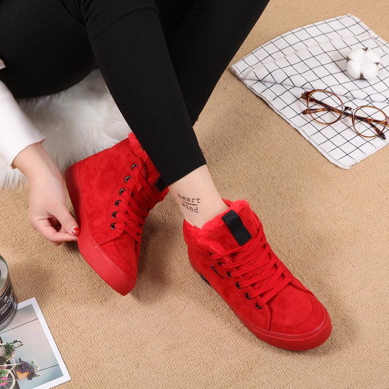 人本冬季新款大红色短靴女平底棉鞋加绒棉靴韩版高中学生女鞋