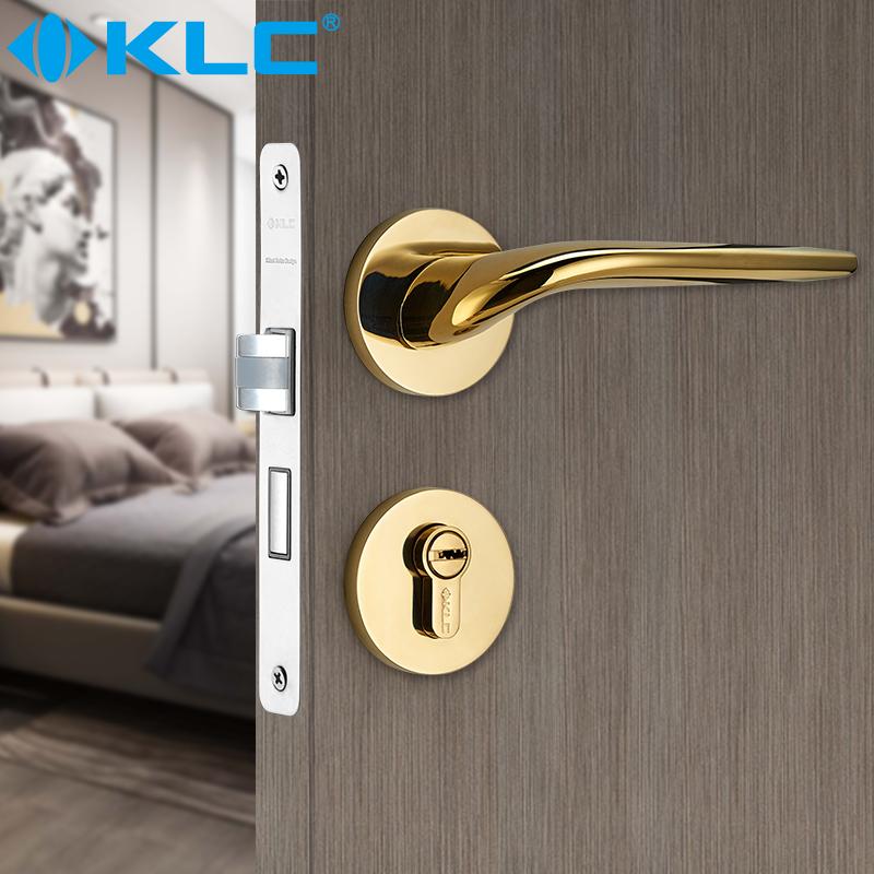 KLC靜音門鎖室內臥室房門鎖歐式簡約實木門鎖具家用分體鎖雙舌鎖