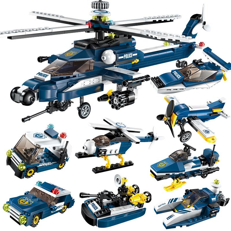 启蒙积木塑料玩具5儿童益智男孩拼装拼插7-8-10岁风暴武装直升机11-08新券