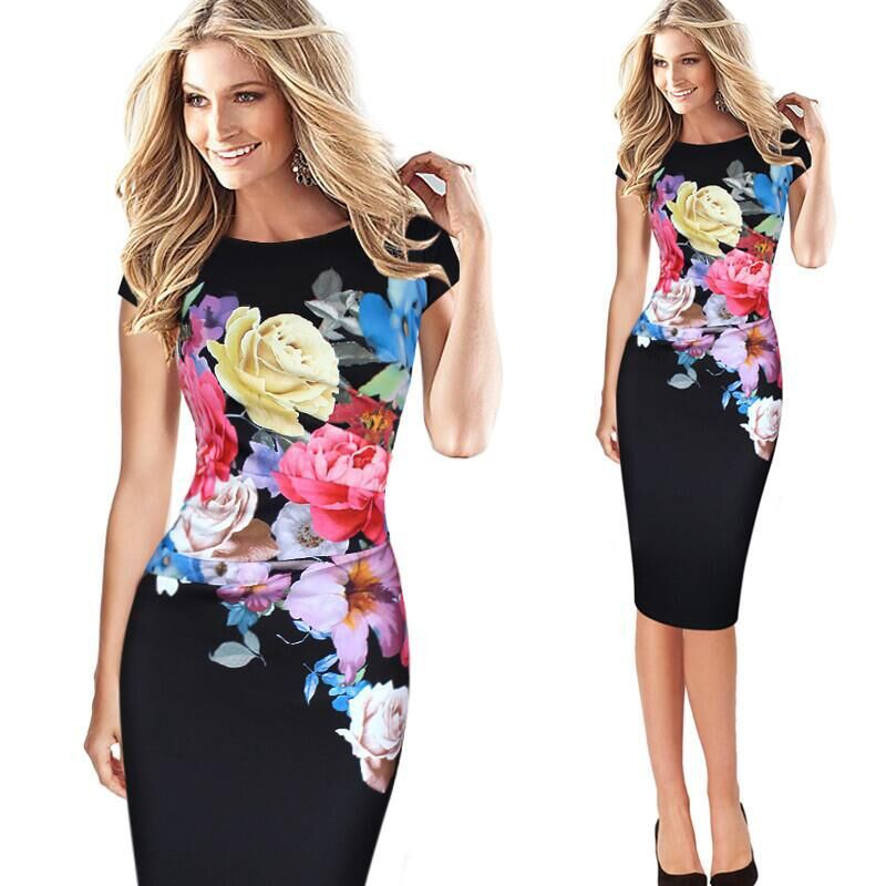 Occident and the United States Polyester Printing / printing and dyeing dress (Black-xL)NHYF1021