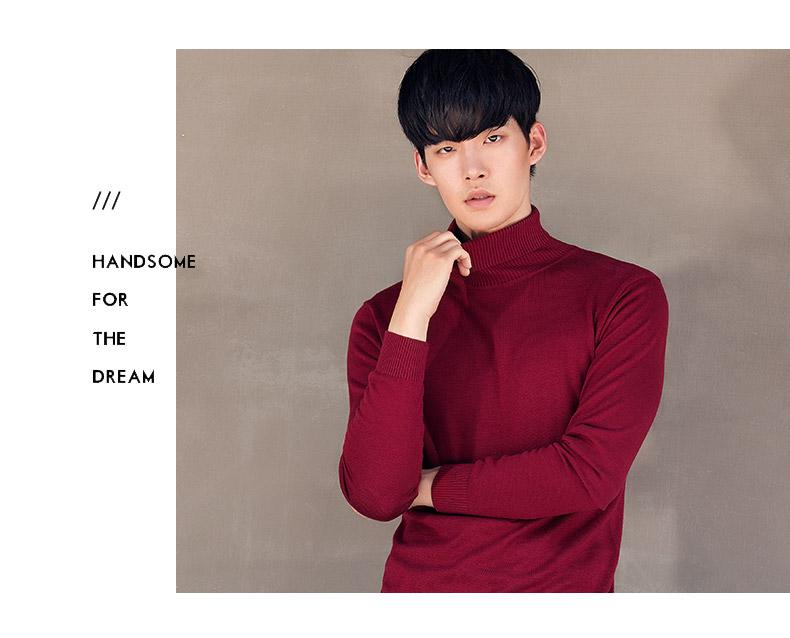 Mark Huafei áo len nam cao cổ áo len 2017 mùa đông mới của Hàn Quốc phiên bản của màu rắn mùa thu và mùa đông áo sơ mi dòng thủy triều