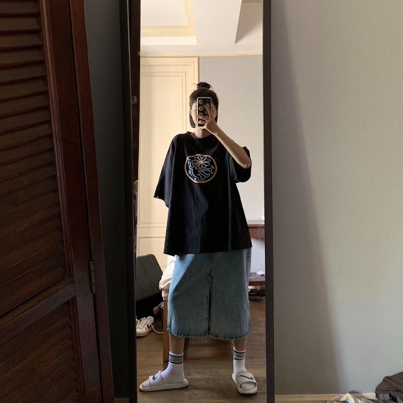 卤卤lulu 黑白色短袖t恤女宽松2019新款韩版趣味印花大码体恤上衣