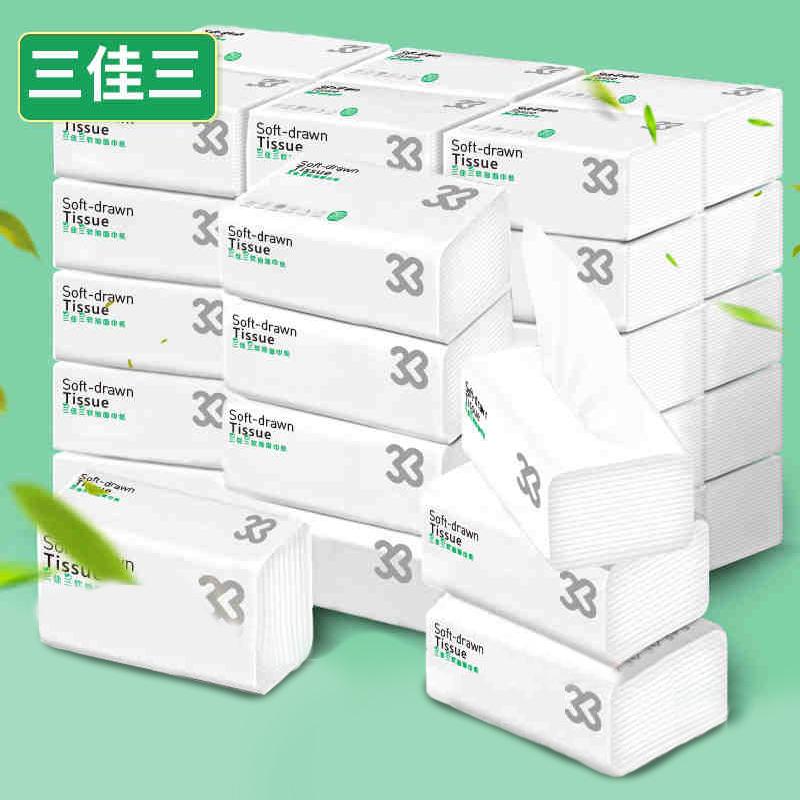 三佳三4层超韧3D印花24包抽纸整箱家用超值实惠餐巾纸婴儿面巾纸