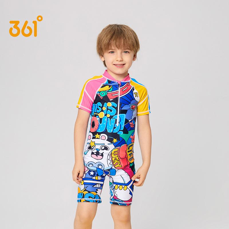 361度儿童泳衣男童游泳衣中大童泳装花色速干连体泳衣短袖冲浪服
