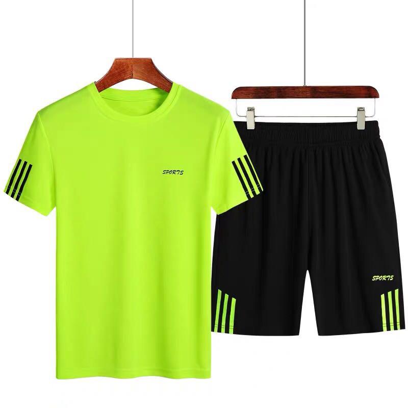 2020夏季新款短袖t恤套装男跑步休闲运动服套装速干短裤套装男
