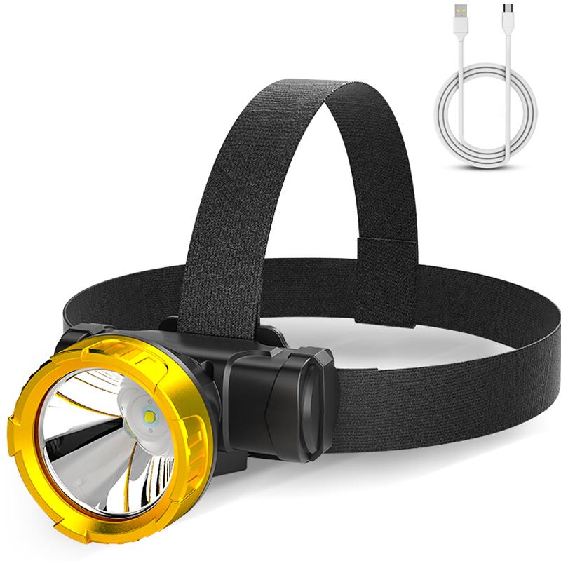 led头灯强光充电头戴式超亮疝气手电筒小户外黄光感应夜钓鱼矿灯