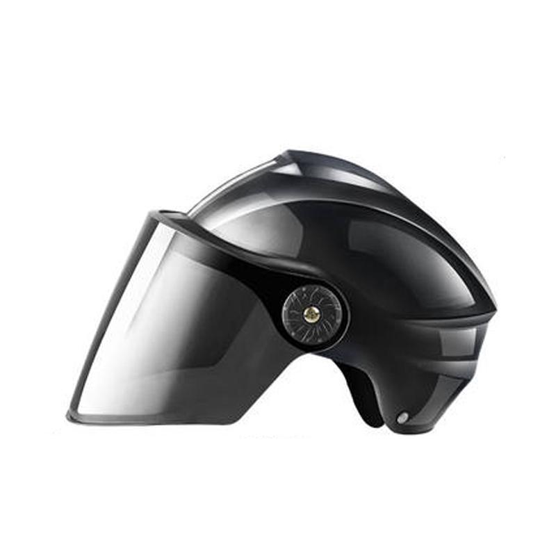8号电动电瓶车头盔灰男女士四季通用半盔夏季哈雷防晒全盔安全帽