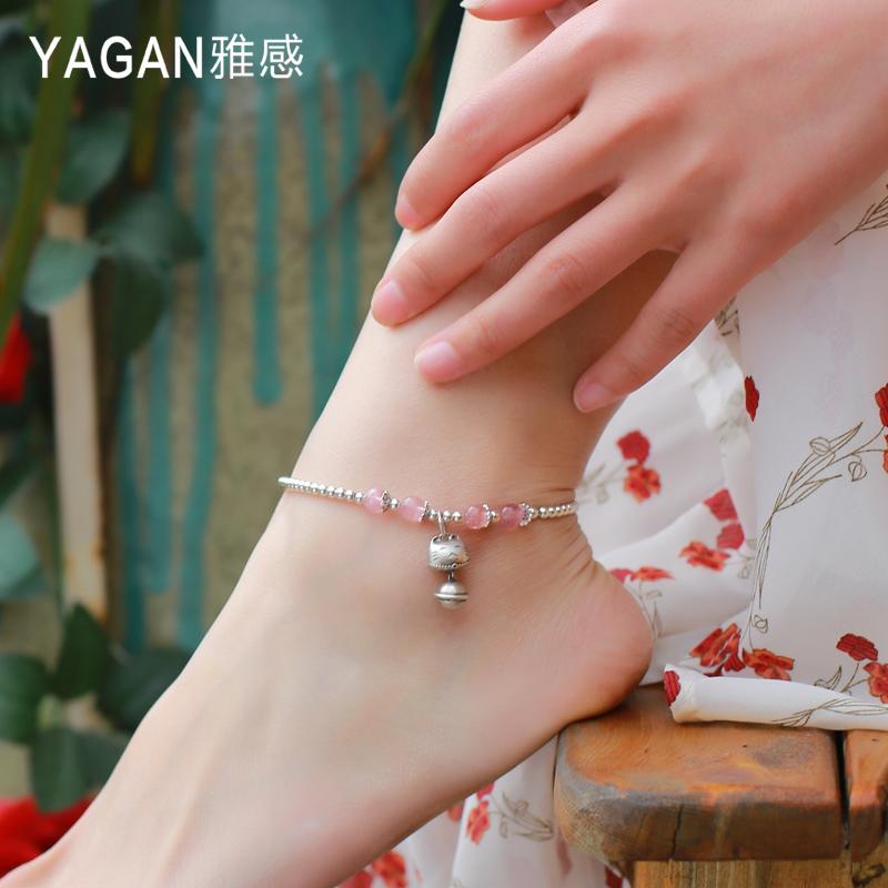Thanh lịch cảm giác S925 sterling bạc may mắn mèo vòng chân nữ sinh viên đơn giản Sen Sở cá tính nữ sinh nhật Han Xiaozhong lưới chân đỏ - Vòng chân