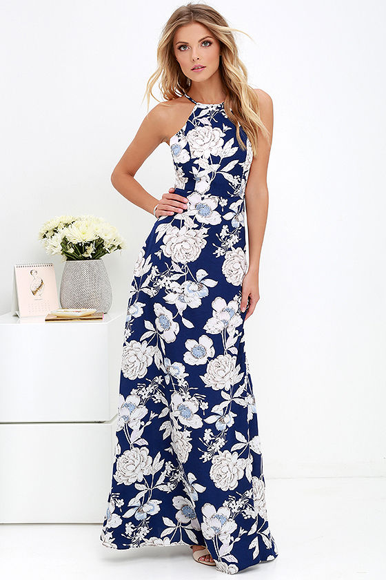 LASPERAL Womens Summer Maxi Dresses New Arrival Ladies Boho Dress Sleeveless Blue Halter Neck Floral Print Vintage Long Dress 5