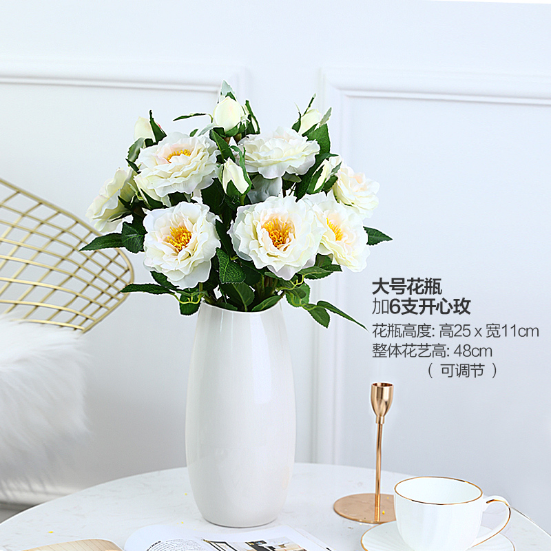 Large vase + 6 happy roses [set price]
