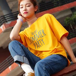 夏装短袖女学生宽松韩版ulzzang百搭韩范ins半袖T恤2018新款上衣