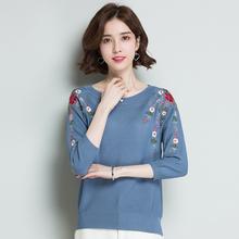 中年妈妈装绣花针织衫