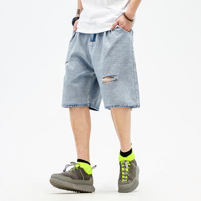 @马切达 夏季日系潮流浅蓝色破洞牛仔五分裤男士宽松乞丐休闲短裤