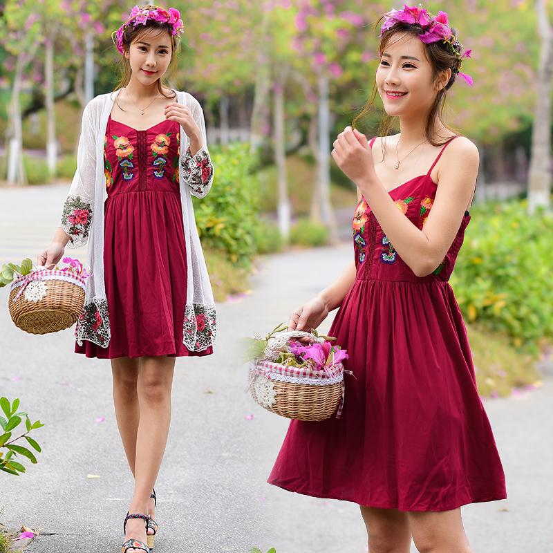 民族风女装 刺绣吊带裙2018新款女装修身无袖连衣裙A字裙短裙出游