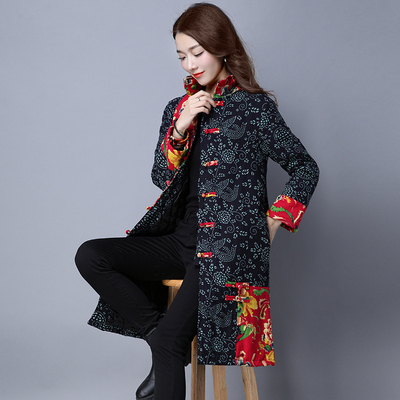 2017 autumn and winter large size ethnic style women's cotton jacket Chinese long-sleeved cotton mosaic hit the color of the vintage