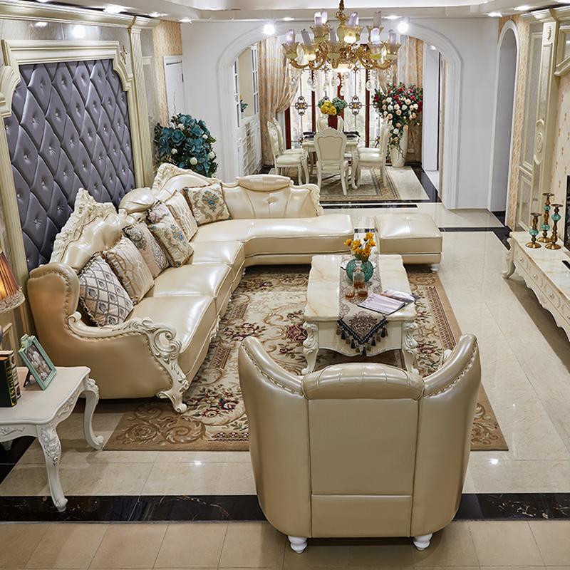 凱瑞蒂歐式真皮沙發組合小戶型奢華客廳頭層牛皮實木雕花皮質整裝