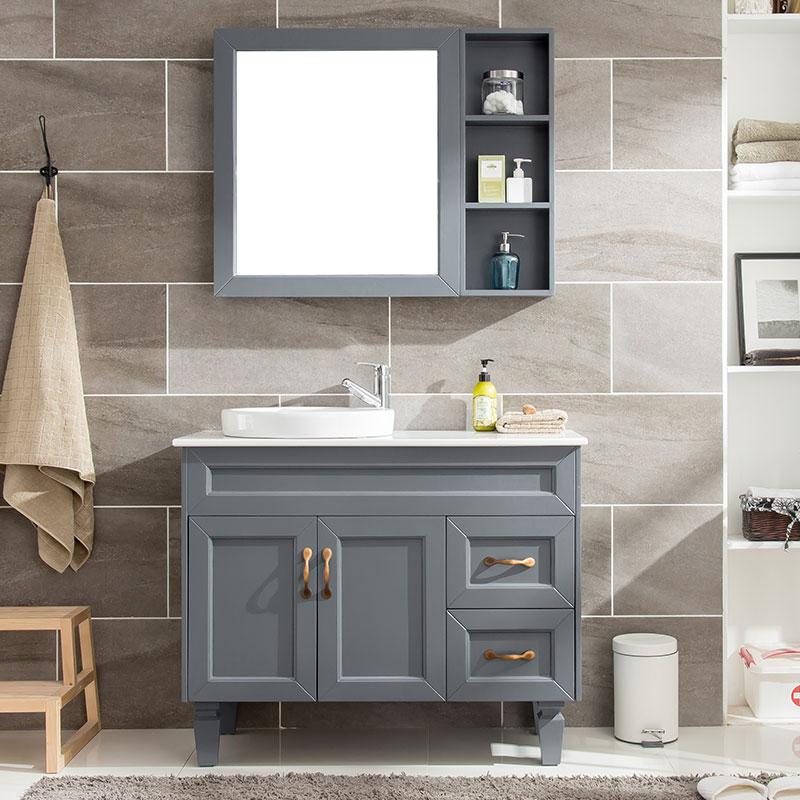 現代簡約落地式浴室柜組合北歐衛生間臺盆地中海洗臉盆洗手洗漱臺