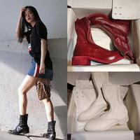 Guidi ботинки женщина из натуральной кожи pl2 винтаж нетто красный 788310 перевернутые сапоги женские передняя+задняя с замками широкий каблук средние берцы
