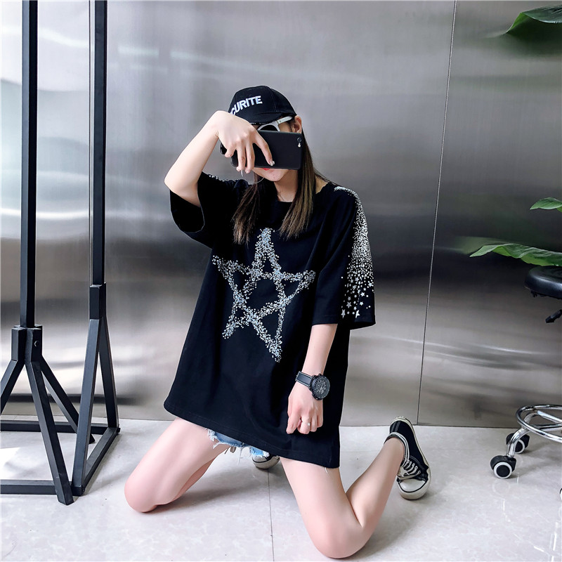 Loose Fashion Five-Pointed Star Dark Printing Short-Sleeved T-Shirt Female 2019 Summer New Round Neck T-Shirt Top H0056 9