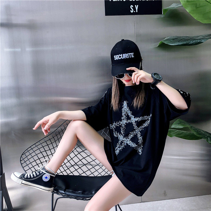 Loose Fashion Five-Pointed Star Dark Printing Short-Sleeved T-Shirt Female 2019 Summer New Round Neck T-Shirt Top H0056 12